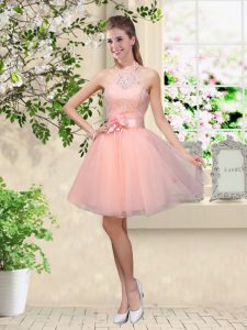 Wonderful Knee Length Lace Up Dama Dress for Quinceanera Peach for Prom and Party with Lace and Belt