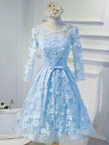 Mini Length A-line Long Sleeves Light Blue Evening Dress Lace Up