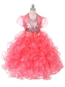 High Class Coral Red Ball Gowns Organza Scoop Sleeveless Ruffles and Sequins and Bowknot Floor Length Lace Up Kids Forma