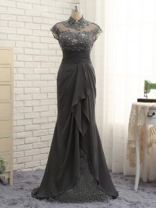 Black High-neck Neckline Lace and Ruching Mother Of The Bride Dress Cap Sleeves Zipper
