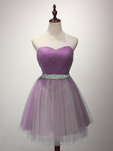 Trendy Tulle Sweetheart Sleeveless Lace Up Ruching Wedding Party Dress in Lilac