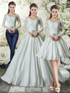 Enchanting Long Sleeves Chapel Train Lace Up Lace and Belt Wedding Dress