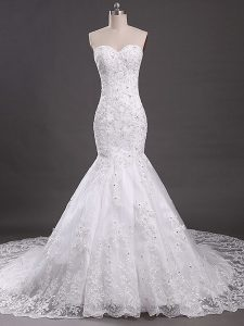 Unique White Wedding Gown Wedding Party with Lace Sweetheart Sleeveless Court Train Lace Up