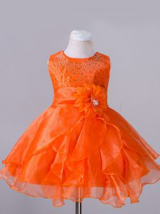 Traditional Scoop Sleeveless Zipper Flower Girl Dresses for Less Orange Red Organza