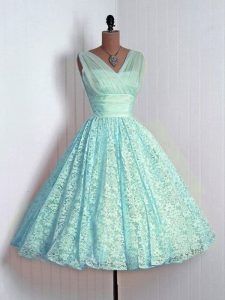Mini Length Aqua Blue Wedding Guest Dresses V-neck Sleeveless Lace Up