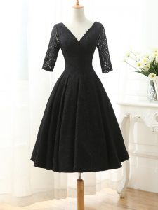 Eye-catching Knee Length Black Prom Dresses Lace Half Sleeves Lace and Appliques