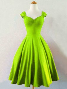 Cheap Yellow Green Sleeveless Mini Length Ruching Lace Up Quinceanera Dama Dress