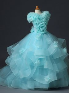 Latest Tulle Sleeveless Floor Length Little Girl Pageant Dress and Ruffles and Hand Made Flower