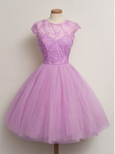 Lilac Scoop Lace Up Lace Bridesmaid Dresses Cap Sleeves
