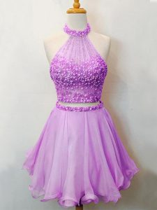 Latest Halter Top Sleeveless Quinceanera Dama Dress Knee Length Beading Lilac Organza