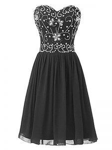 Black Chiffon Lace Up Sweetheart Sleeveless Knee Length Cocktail Dresses Beading