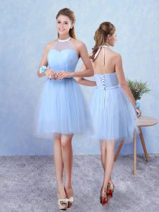 Blue Lace Up Halter Top Ruching Dama Dress Tulle Sleeveless