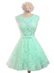 Sleeveless Lace Knee Length Lace Up Dama Dress in Apple Green with Belt