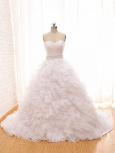 Lace Up Wedding Gown White for Wedding Party with Beading and Ruffles Brush Train