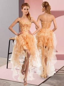 Fancy Organza Sweetheart Sleeveless Lace Up Beading and Ruffles Club Wear in Gold