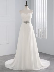 Pretty Chiffon Sleeveless Wedding Dress Brush Train and Beading and Ruching