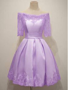 Lavender Off The Shoulder Neckline Lace Quinceanera Court of Honor Dress Short Sleeves Lace Up