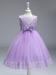 Admirable Sleeveless Knee Length Lace and Bowknot Zipper Kids Formal Wear with Lavender