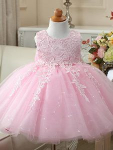New Style Sleeveless Tulle Knee Length Zipper Little Girl Pageant Gowns in Baby Pink with Appliques and Bowknot