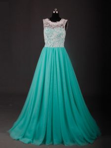 Chiffon Sleeveless Homecoming Dress Sweep Train and Lace and Embroidery