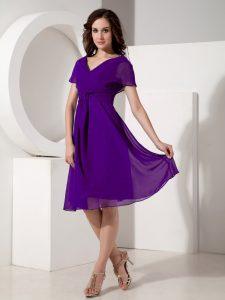 Smart V-neck Short Sleeves Zipper Mother Of The Bride Dress Purple Chiffon