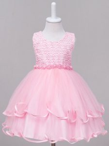 Beauteous Baby Pink Ball Gowns Tulle Scoop Sleeveless Lace Knee Length Zipper Toddler Flower Girl Dress