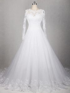 Perfect Long Sleeves Brush Train Lace Side Zipper Wedding Dress