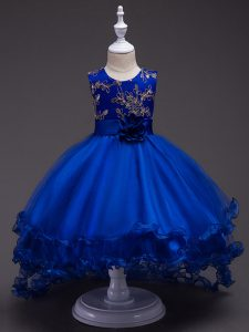 Royal Blue Ball Gowns Scoop Sleeveless Tulle High Low Zipper Appliques and Hand Made Flower Little Girls Pageant Dress W