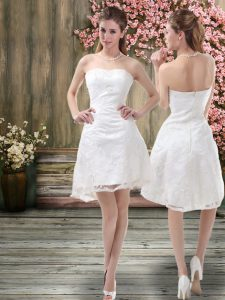 On Sale Mini Length White Wedding Gown Organza Sleeveless Embroidery