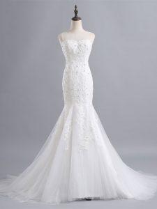 White Mermaid Tulle Scoop Sleeveless Lace Zipper Wedding Gowns Brush Train