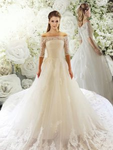 Exquisite White Wedding Dresses Tulle Court Train Half Sleeves Lace