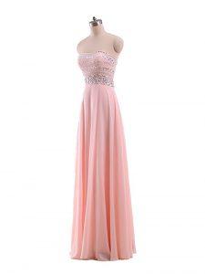 Sleeveless Zipper Floor Length Beading Prom Gown