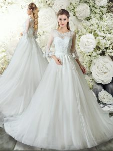Charming White A-line Lace Wedding Gown Zipper Tulle 3 4 Length Sleeve