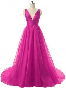 Simple Fuchsia Backless V-neck Ruching Ball Gown Prom Dress Organza Sleeveless Brush Train