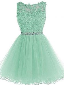 Stunning Apple Green Sleeveless Mini Length Beading and Lace and Appliques and Ruffles Zipper