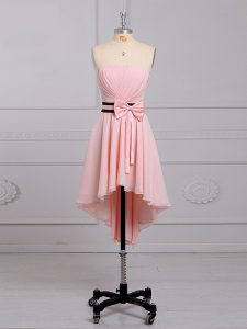 High Low Lace Up Dama Dress Baby Pink for Prom and Party and Wedding Party with Ruching and Bowknot