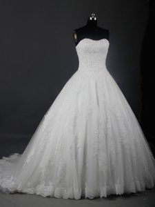 Fabulous Brush Train Ball Gowns Wedding Dresses White Strapless Tulle Sleeveless Lace Up
