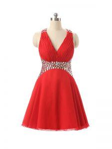 Custom Designed Red Criss Cross Club Wear Beading Sleeveless Mini Length