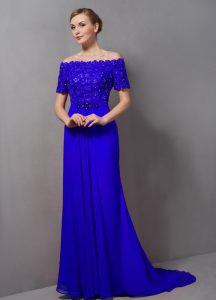 Luxurious Short Sleeves Sweep Train Zipper Lace Mother Of The Bride Dress
