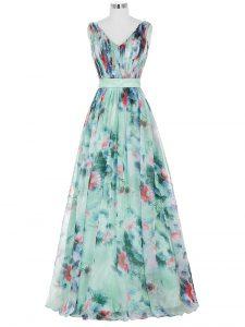 V-neck Sleeveless Evening Dress Floor Length Ruching and Belt Multi-color Printed