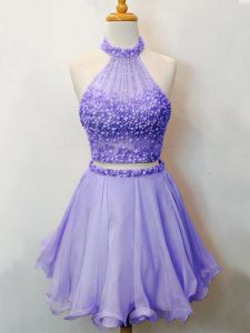 Extravagant Lavender Sleeveless Organza Lace Up Wedding Party Dress for Prom and Party and Wedding Party
