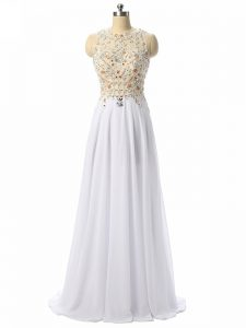 Captivating High Low White Formal Evening Gowns Scoop Sleeveless Zipper