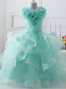 Amazing Sleeveless Tulle Floor Length Zipper Little Girls Pageant Dress in Apple Green with Ruffles and Hand Made Flower