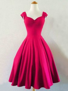 Hot Pink Taffeta Lace Up Dama Dress for Quinceanera Sleeveless Knee Length Ruching