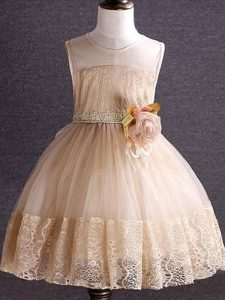 High End Champagne Scoop Neckline Lace and Hand Made Flower Girls Pageant Dresses Sleeveless Zipper