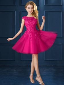 Glittering Tulle Cap Sleeves Knee Length Wedding Guest Dresses and Lace and Belt