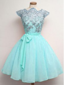 High Class Aqua Blue A-line Scalloped Cap Sleeves Chiffon Knee Length Lace Up Lace and Belt Dama Dress