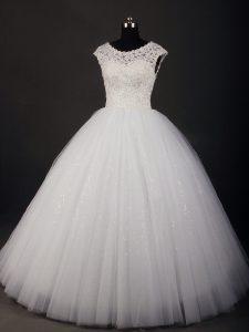 Flirting Sleeveless Tulle Floor Length Zipper Wedding Dress in White with Lace