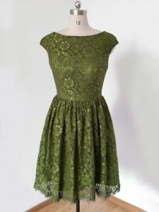 Top Selling Olive Green Scoop Neckline Lace Quinceanera Dama Dress 3 4 Length Sleeve Lace Up