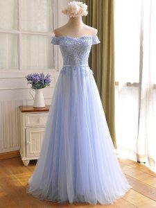 Sleeveless Lace Up Floor Length Appliques Dress for Prom